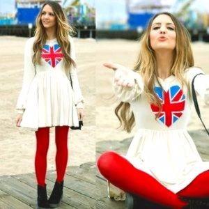 NWT WILDFOX British babe babydoll dress U.K. Flag